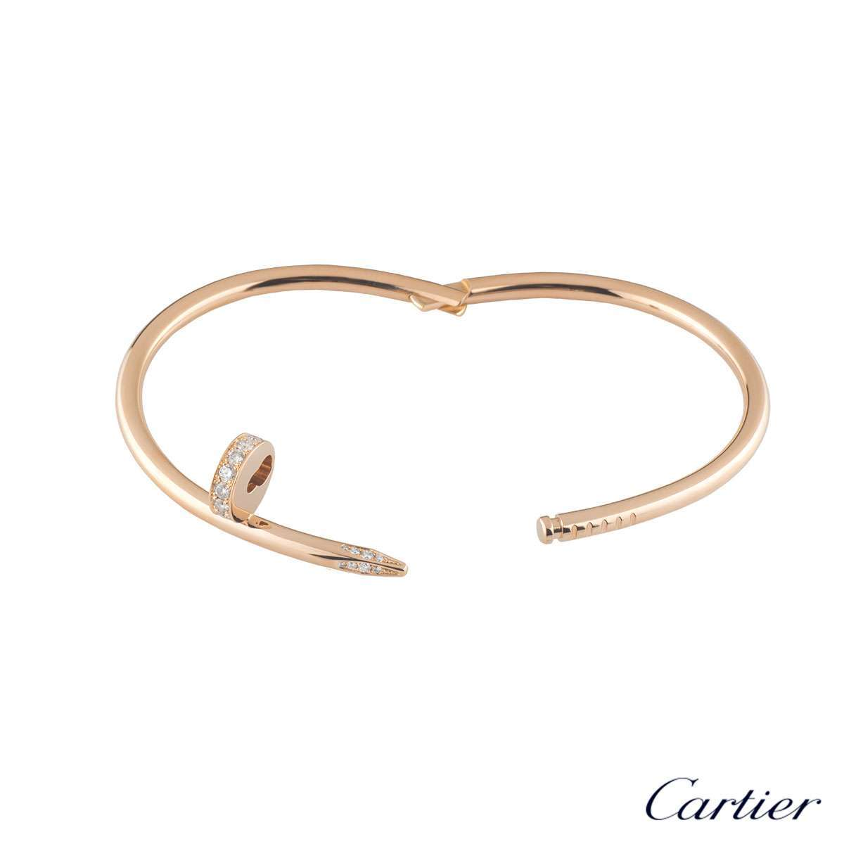 Cartier Rose Gold Diamond Juste Un Clou Bracelet Size 16 B6039016